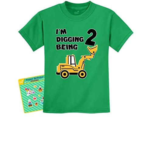 2nd Birthday Bulldozer Construction Party 2 Years Old Boy Toddler Kids T Shirt