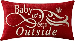 NIDITW Nice Christmas Birthday Gift Baby It's Cold Outside Beautiful Snowflakes Body Waist Lumbar Red Cotton Linen Throw Pillow case Cushion Cover Sofa Chair Decorative Oblong Long 12x20 Inches
