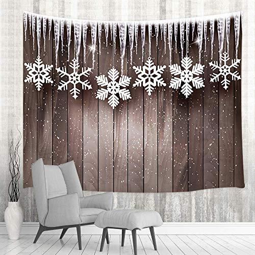 Tapestry Colgante de pared de Navidad, telón de fondo de madera rústica con copos de nieve Tapestries 80X60inch