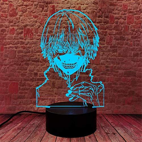 Kaneki Ken Tokyo Ghoul 3D Luz de noche para niños Anime 3D Ilusión Lámpara 3D Lámpara de luz 3D 16 colores Cambio con remoto vacaciones y regalos de cumpleaños Ideas para niños