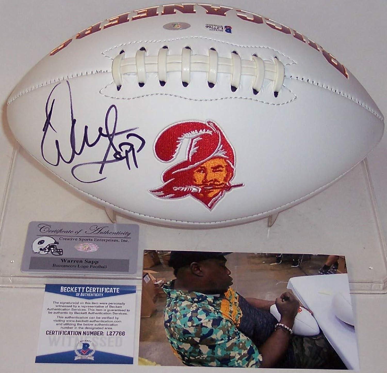 Warren Sapp Autographed Hand Tampa Bay Buccaneers Throwback Logo FootballBAS Beckett