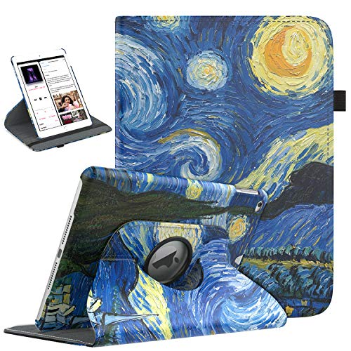 TiMOVO iPad 9.7 2018/2017, iPad Air 2, iPad Air Case - 360 Degree Rotating Case Smart Leather Stand Cover Pencil Holder, Auto Wake/Sleep Apple iPad 5/6th Gen/iPad Air 1/2 - Noche Estrellada
