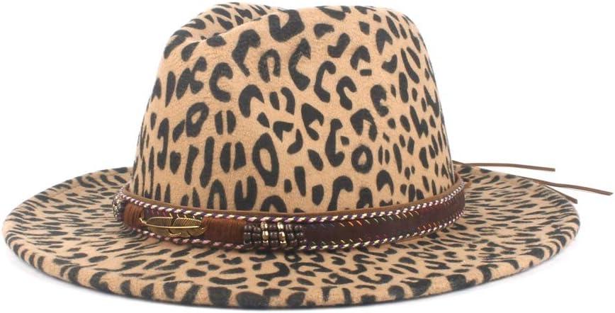 Ladies Men's Vintage Wool Polyester Fedora Hat Leather with Elegant Ladies Winter Autumn Jazz Hat Fashion (Color : Khaki, Size : 56-58cm)