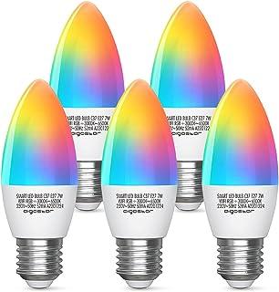 Aigostar Bombilla LED inteligente WiFi vela C37, 7W, E27 rosca gorda, RGB + CCT. Regulable multicolor + luz cálida o blanc...