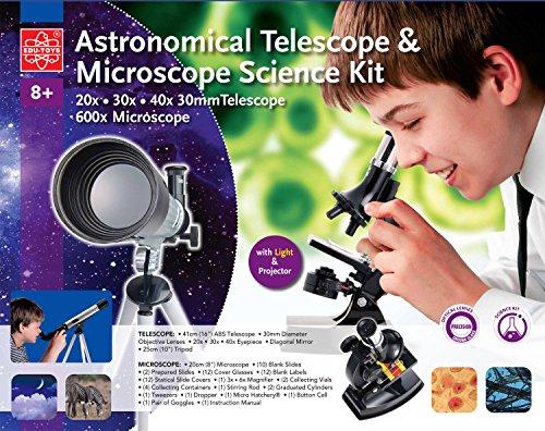 EDU-TOYS Teleskop und Mikroskop Set für den Einstieg in Kosmos und Mikrokosmos Extrahandlupe