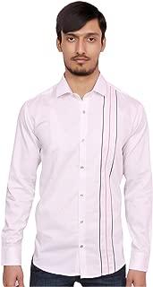 Ferro Cotton White Plain Casual Shirt for Men