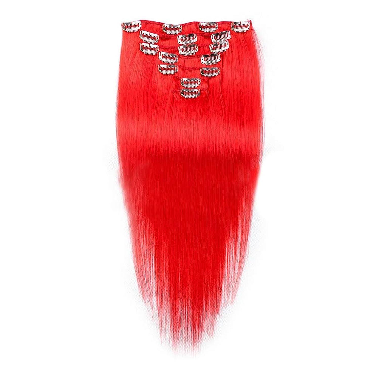 オーチャードクリーナーただYESONEEP 7ピースフルヘッドセットクリップでヘアエクステンションヘアピースシルキーストレート人間の髪16