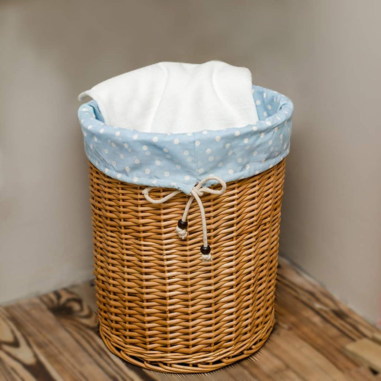 FANGFA Storage Basket Wicker Hand Weaving Bedroom Living Room Clothes Storage Box (4 colors, 2 (color   D, Size   DH 43  53cm)