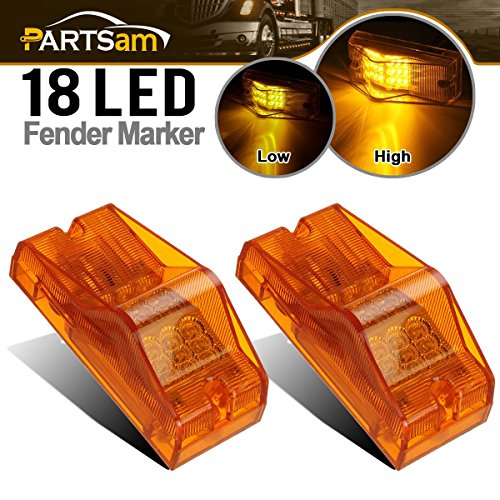 Partsam 2Pcs 6 Inch Amber 18LED Turn w Reflector Side Turn Signal and Marker Light Replacement for Freightliner Trucks Cab Sleeper Panel Waterproof Side Surface Mount P/T/C Lights