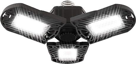 LED Garage Lights E27 Garage Ceiling Lights, LED Shop Light 6000LM Ultra Bright 60W with 3 Adjustable Panels Triple LED Li...