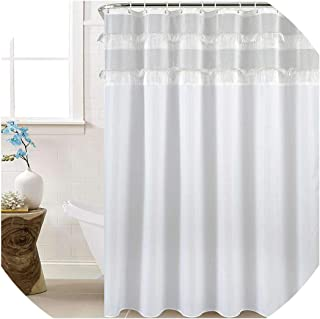 Drem-Wardrobe New Type Joint Shower Curtain with Tassel Waterproof Shower Curtains Wedding Decoration Rideau de Douche douchegordijn,White,180x210cm