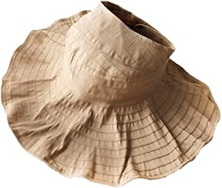 Straw Hat Beach Hat Round Cap Summer Shade Sunscreen Empty Top Cap Women, Khaki,
