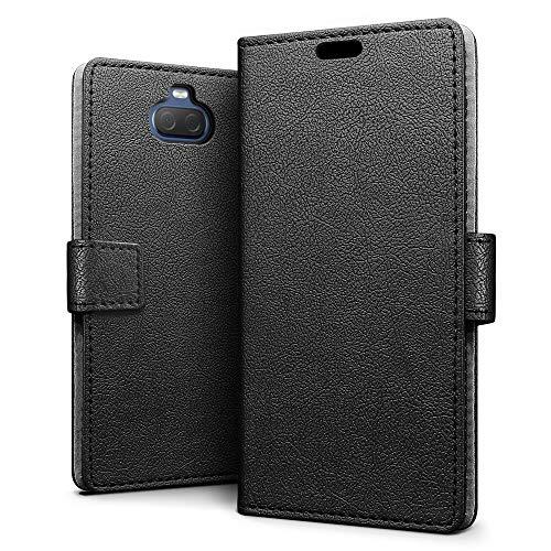 SLEO Hülle für Sony Xperia 10 Plus Hülle,Premium PU Leder Handyhülle Tasche Schutzhülle Flip Wallet Case Cover für Sony Xperia 10 Plus - Schwarz