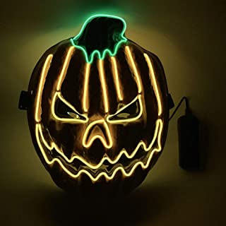HEE Halloween Mask LED Light up Mask for Halloween Festival Cosplay Halloween Costume Party Decorations