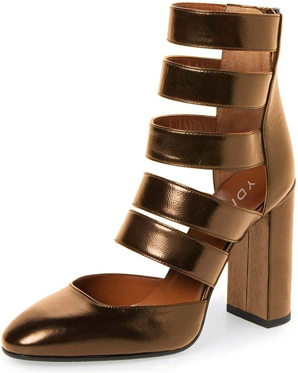 YDN Women Gladiator Strappy Sandals Block High Heel Round Toe Hollow Out Pumps with Zipper