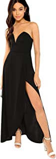 Verdusa Women's Bandeau Off Shoulder Flared Party Split Long Dress