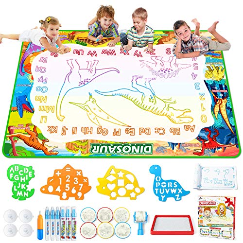 Jasonwell Aqua Magic Doodle Mat - 60 x 40'' XXX-Large Water Drawing Doodling Mat Dinosaur Painting Writing Board Coloring Mat Educational Toy Gift for Kids Toddlers Age 3 4 5 6 7 8 Year Old Girls Boys