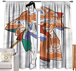 Andrea Sam Linen Curtains Kabuki Mask,Actor in Costume Window Curtain String Light Wedding Party,W108 x L96 inch