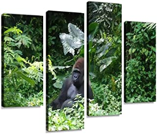 One Wild Gorilla Silverback Mountain in Tropical Jungle Canvas Print Artwork Wall Art Pictures Framed Digital Print Abstra...