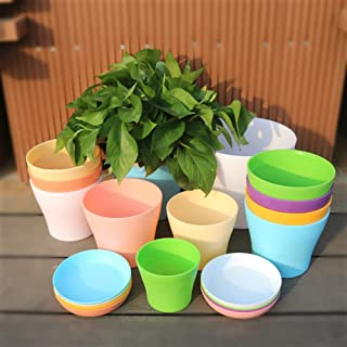 8 Pack 6.7 Inch Plastic Planters Indoor Plant Pots, Colorful Gardening Flower Pot with Drainage Hole and Tray for Home Gar...