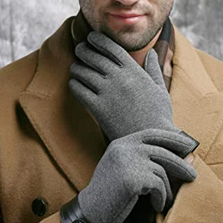 LJJOO Touch Screen Gloves Points to Thick Warm Flannel Touch Screen Driving Gloves Outdoor Riding Gloves (Color : Gray)