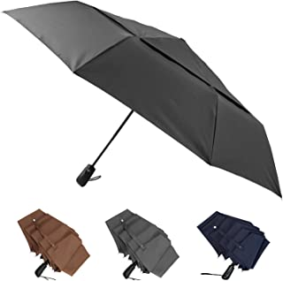 Large Umbrella Windproof 54 Inch Folds Into Portable Travel Size - Big Enough To Comfortably Fit In 2 Adults - Auto Open C...