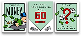 Inktuitive 'Monopoly Set' Inspirational Wall Art | Monopoly Pennybags Canvas Print | Motivational Décor for Bedroom, Living Room & Business Office | 16 x 12 Inches (3 Piece Set)