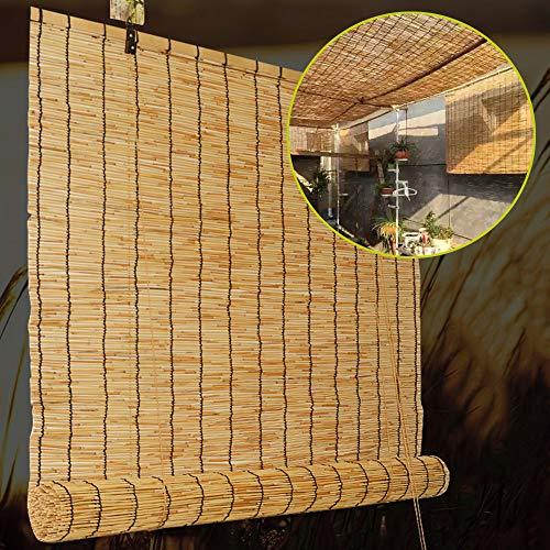 F-XW Bambus-Rollos, Schilf Vorhang, Sichtschutz Rollos für Garten/Veranda/Pool, Schnurzug Jalousie, 145x225cm