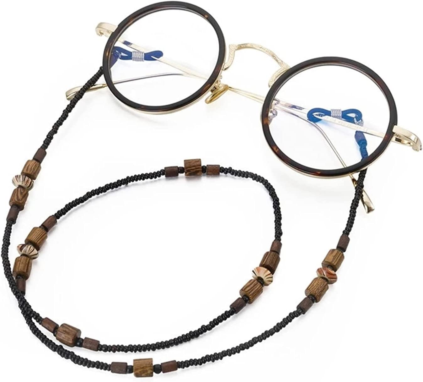 GWSD Chic Wooden Beads Beaded Glasses Chain No Fading Sunglasses Lanyard Eyeglass Cord Hanging Neck Strap (Color : Black)