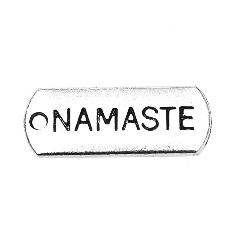 Monrocco 100 Pcs Antique Silver Namaste Charms Inspirational Message Word Charm Pendants for Bracelets Jewelry Making