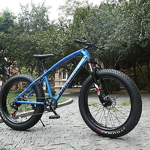 AURALLL Montagne Fat Tire Vélo Adulte Route Vélo Voyage d'été Double Shock Frein à Disque Vitesse réglable Vélos de siège réglable pour la Plage, désert, Neige,Bleu,7speed 26 inch