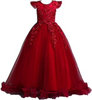 Surprise S dress 4-14Y Lace Teenagers Wedding Long Dress Elegant Princess Party Pageant Formal Sleeveless Dress