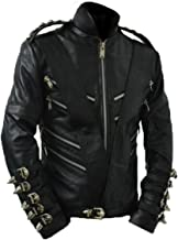 Michael Bad Era Cow Hide Leather Jacket with Belt Without Badges Black