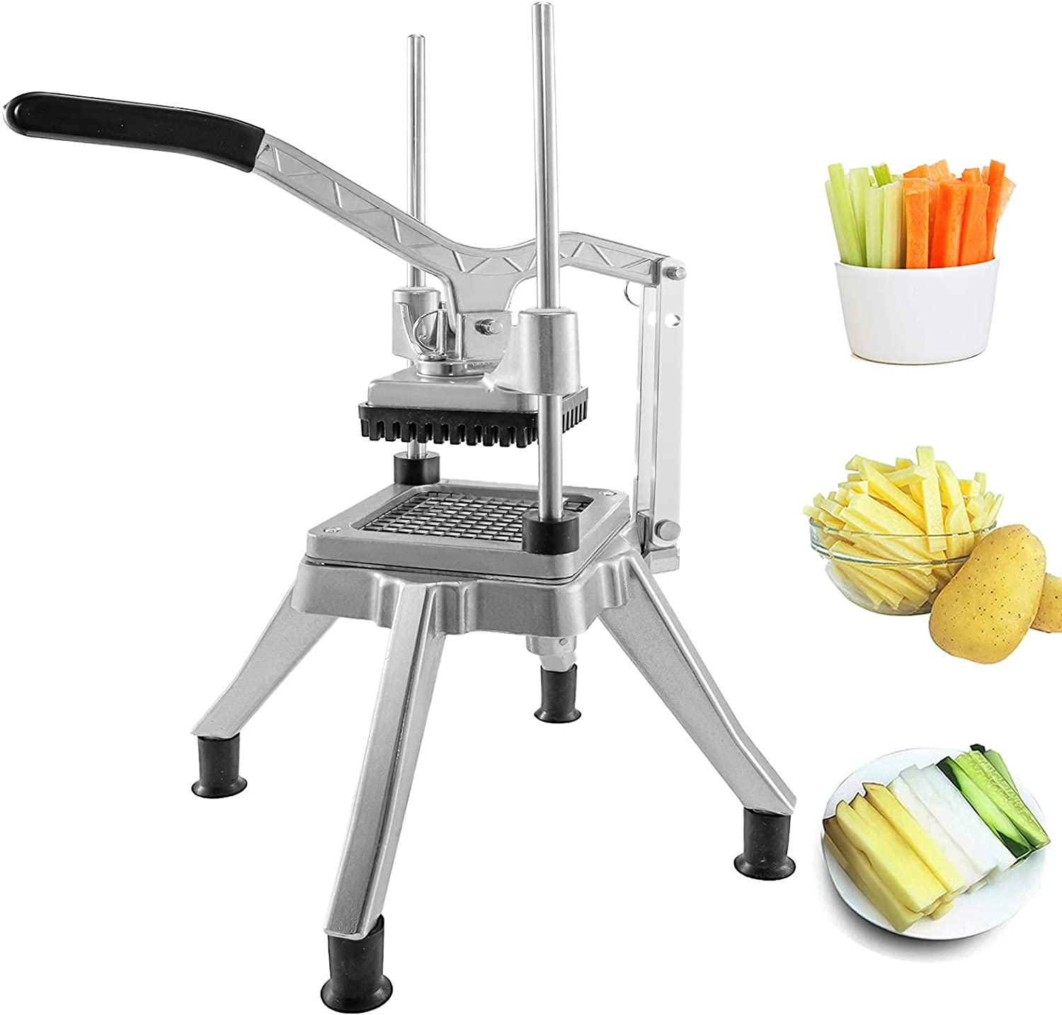 Commercial Food Chopper, Professional French Fry Cutter Multifunctional Heavy Duty Vegetable Fruit Chopper Dicer with 1/4