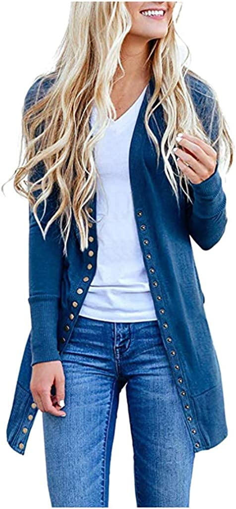 AODONG Cardigan for Women Lightweight Open Front Long Cardigan Knitted Sweater Long Sleeve Outerwear Tops