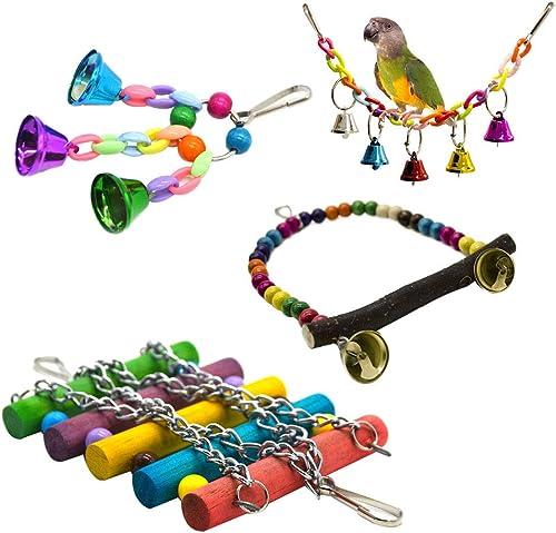 4 pcs/Ensemble Jouet De Cage De Perroquet Suspendu Balançoire Socle Suspendu Pont Cloche Corde Balançoire Oiseaux Jou...