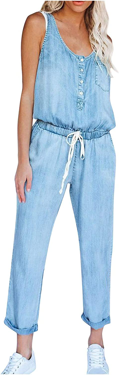 ABABC Womens Casual Sleeveless Denim Jumpsuits Backless Buttons Playsuit Holiday Elastic Waist Strappy Long Beach Rompers