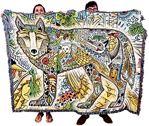 Pure Country Weavers Wolf - Native American Inspired Pacific Northwest Totem by Sue Coccia - Blanket Throw Woven from Cotton - Made in The USA (72x54)