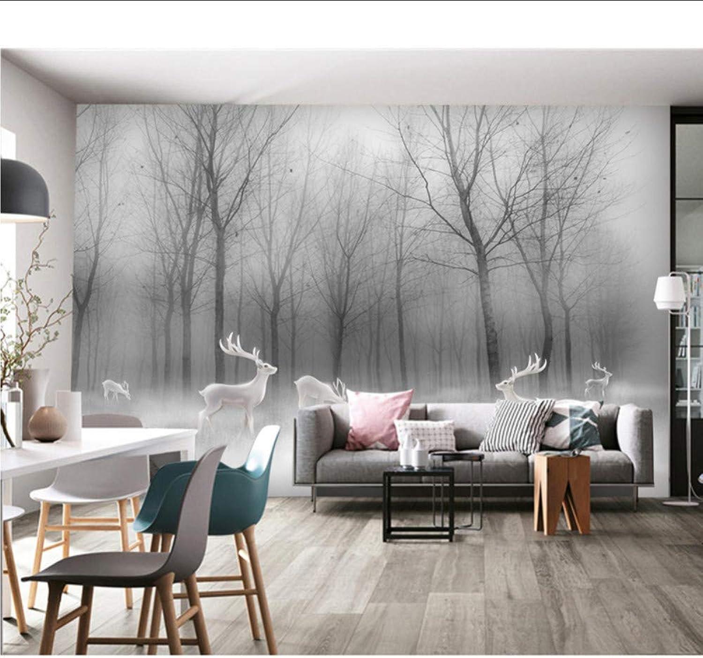 Hwhz Bosque Elk Paisaje Foto Papel Tapiz Mural Sala De Estar Tv De Fondo Papeles Murales Papel Tapiz De Vinilo Autoadhesivo 3D-200X140Cm