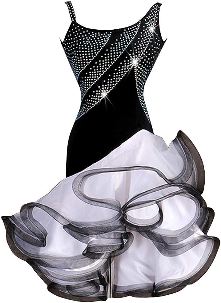 NAKOKOU Women's Latin service Max 74% OFF Dance Dresses Organza Spl Crystals Spandex