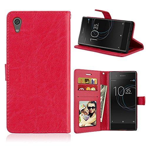 Fatcatparadise Kompatibel mit Sony Xperia Z6 / XA1 Hülle + Bildschirmschutz, Flip Wallet Hülle mit Kartenhalter & Magnetverschluss Halterung PU Leder Hülle handyhülle (Rot)