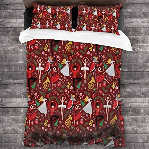 KDRW Copripiumino copripiumino e lenzuola trapunta e copripiumino Bedding Set Nutcracker Ballet Christmas Xmas Flower 3 Piece Duvet Cover Set Wrinkle Resistant Bed Quilts with Zipper Closure Comfy Bed