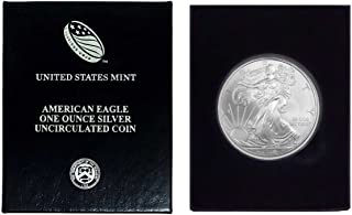 2009 - American Silver Eagle in Plastic Air Tite and Blue Gift Box with our Certificate of Authenticity Dollar Uncirculated Us Mint