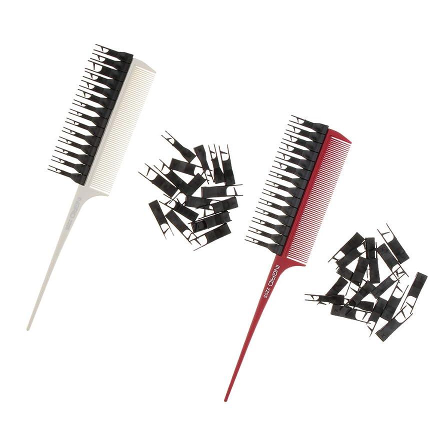 ファブリックプロット全国B Blesiya 2個 髪染めブラシ ハイライト 櫛 コーム ヘアカラー