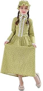 KOGOGO Colonial Girl Costume Prairie Pioneer Dress 100% Cotton