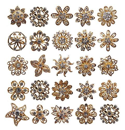 keland 24 stücke Mix Set Strass Kristalle Broschen Brosche Hochzeit Bouquet Kit Großhandel Lot (Gold)
