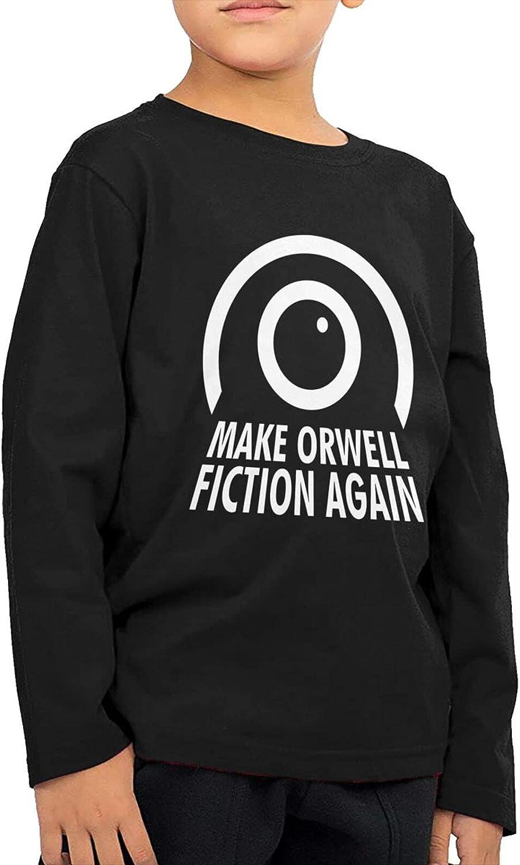 Make Orwell Fiction Again Kids Long Sleeve Shirts Cotton Sweatshirt Novelty T-Shirt Top Tees 2-6 Years