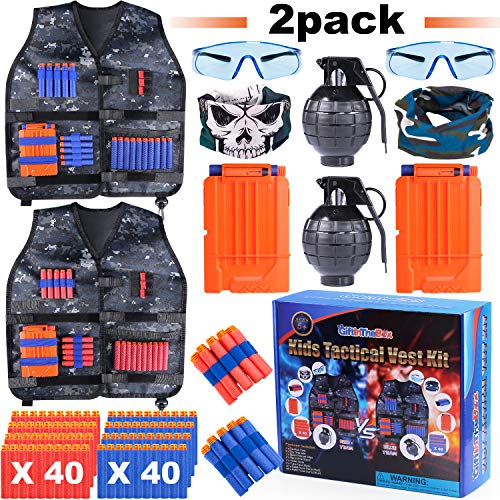 Giftinthebox 2 Pack Adjustable Kids Tactical Jacket Vest Kit for Toys Guns with 80 Bullets Refill Darts 2 Toy Grenade, 2 Reload Clip, 2 Face Mask, 2 Protective Glasses, 2 Wrist Band for Boys