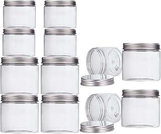 Aitsite Bocal Plastique Transparent 12 Pcs (6 pcs 350ml + 6 pcs 150ml) Bocaux Plastique Recipient Plastique Pot pour Slime...