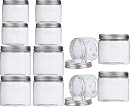 Makone 12 Packs Clear Plastic Jars with Silver Metal Lids (6pc 12oz + 6pc 5oz) BPA Free PET Food Safe Stackable Transparent Storage Container for Slime Kitchen Dry Goods